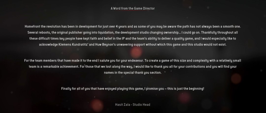 Homefront: The Revolution End Credits